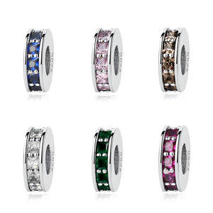 Sterling Silver Cubic Zirconia Eternity Spacer Charms - Available in 7 Colors