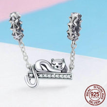 Load image into Gallery viewer, Sterling Silver Swinging Sleeping Cat Charm