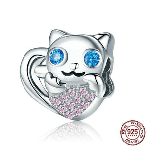Sterling Silver & Cubic Zirconia Blue Eyed Cat Bead