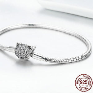 Sterling Silver Sparkling Cat Clasp Snake Chain Bracelet