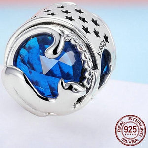 Sterling Silver Blue Jewel Cat Bead