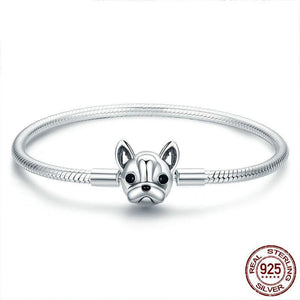 French Bulldog, French Bulldog Bracelet, French Bulldog Jewelry, Sterling Silver Bracelet, Sterling Silver French Bulldog Bracelet, Pandora Bracelet, Pet Jewelry