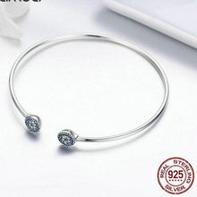 Load image into Gallery viewer, Sterling Silver Radiant Round End Open Cuff Bangle, Sterling Silver jewelry, Sterling Silver Bangle, Cubic Zirconia Bangle, Women's Sterling Silver Bangle, Sterling Silver and Cubic Zirconia, 100Sterling.com, Fashion Bracelet, Design-it-Yourself Bracelet, Pandora Style Bracelet