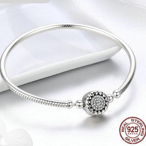 Sterling Silver Dazzling Dial Snake Chain Bracelet