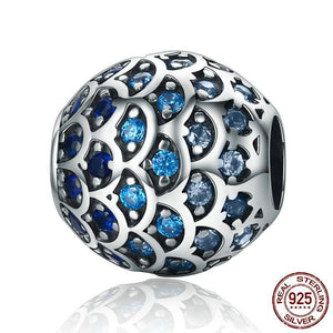 Sterling Silver Blue Wave Bead Charm, Pandora Bead, Sterling Silver Bead, Fancy Beads, Bead Bracelets, Cubic Zirconia Bead, Design-it-Yourself Bead Bracelet, 100Sterling.com