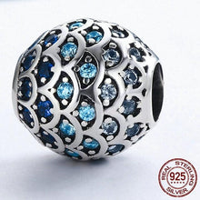 Load image into Gallery viewer, Sterling Silver Blue Wave Bead Charm, Pandora Bead, Sterling Silver Bead, Fancy Beads, Bead Bracelets, Cubic Zirconia Bead, Design-it-Yourself Bead Bracelet, 100Sterling.com
