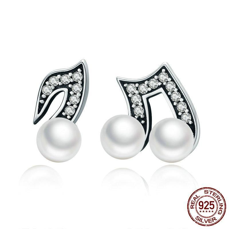 1ffc418177 ... Load image into Gallery viewer, Sterling Silver & Fresh Water Pearl  Musical Note Earrings ...