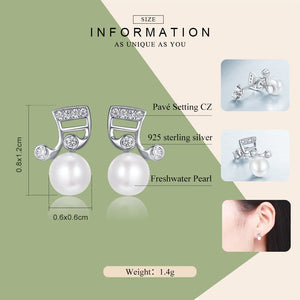 "Sterling Silver ""Making Music"" Fresh Water Pearl Stud Earrings"