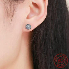 Load image into Gallery viewer, Women's Sterling Silver & Cubic Zirconia Blue Wave Earrings, Women's Earrings, Sterling Silver Earrings, Cubic Zirconia Earrings, 100Sterling.com, Fashion Earrings, Matching Earrings and Ring, Lady's Earrings, Blue Zirconia Earrings