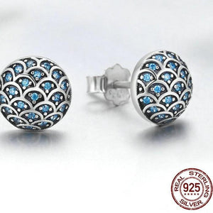 Women's Sterling Silver & Cubic Zirconia Blue Wave Earrings, Women's Earrings, Sterling Silver Earrings, Cubic Zirconia Earrings, 100Sterling.com, Fashion Earrings, Matching Earrings and Ring, Lady's Earrings, Blue Zirconia Earrings