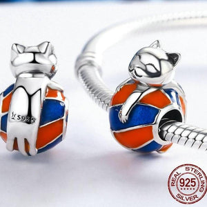 Sterling Silver Rolling Cat Bead
