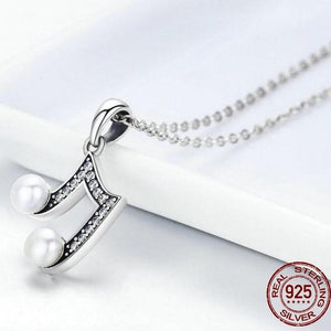 Sterling Silver & Fresh Water Pearl Musical Note Pendant Necklace, Sterling Silver Music Necklace, Pearl Music Necklace, Sterling Silver Necklace, Music Jewelry, 100Sterling.com