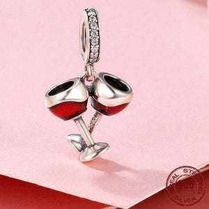 Sterling Silver Red Wine Toast Dangling Charm