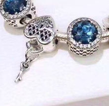 "Load image into Gallery viewer, Sterling Silver ""Key to Your Heart"" Blue Jewel Snake Chain Bracelet - SPECIAL OFFER!!"