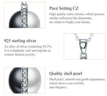 Load image into Gallery viewer, Sterling Silver Black & White Pearl Pendant Necklace