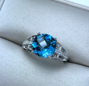 Bailee's 2.04 Carat Round Blue Topaz & Cubic Zirconia Sterling Silver Ring