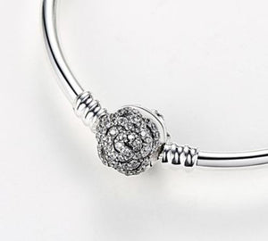 Sterling Silver Bangle Bracelet with Cubic Zirconia Rose