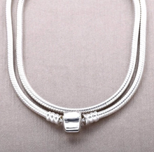 Load image into Gallery viewer, Sterling Silver Snake Chain Necklace with Barrel Clasp