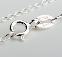 "Load image into Gallery viewer, Sterling Silver ""STRONG IS BEAUTIFUL"" Barbell Pendent Necklace"