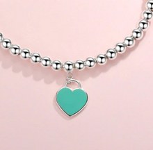 Load image into Gallery viewer, Sterling Silver Round Bead Bracelet with Dangling Blue/Green, Red, Pink or Silver Heart