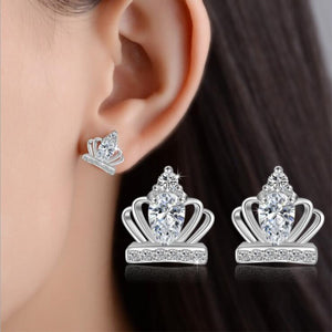 Sterling Silver & Crystal Royal Crown Earrings