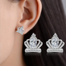 Load image into Gallery viewer, Sterling Silver & Crystal Royal Crown Earrings