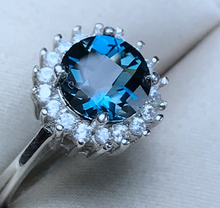 Load image into Gallery viewer, BellaLucia's 2.04 Carat Blue Topaz & Cubic Zirconia Sterling Silver Ring, Blue Topaz, Blue Topaz Ring, Blue Topaz Birthstone, Blue Topaz Birthstone Ring, Blue Topaz and Sterling Silver, Birthday Ring, December Birthstone, December Birthstone Ring, 100Sterling.com
