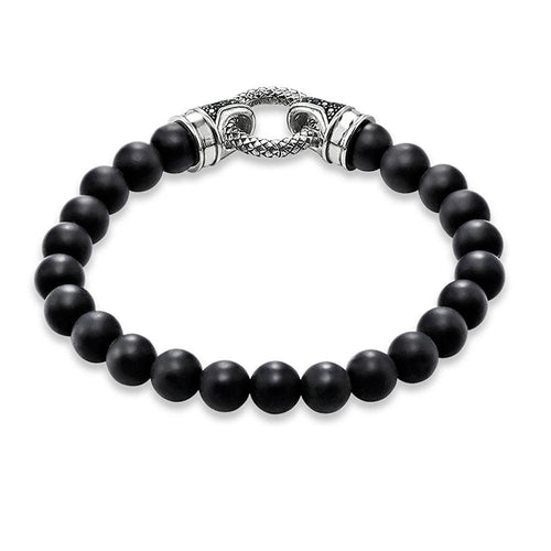 Trendy Black Onyx Bead & Silver Plated Clasp Bracelet