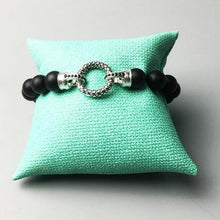 Load image into Gallery viewer, Trendy Black Onyx Bead & Silver Plated Clasp Bracelet