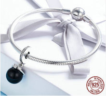Load image into Gallery viewer, Dangling CZ & Sterling Silver Pearl Charm