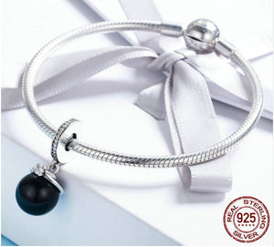 Dangling CZ & Sterling Silver Pearl Charm