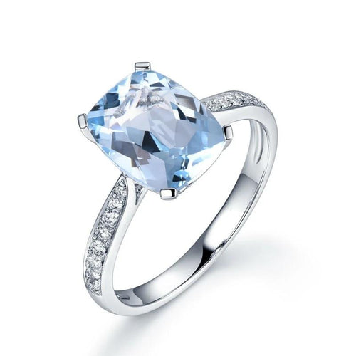 Aqualeana's 3.15 Carat Aquamarine & Diamond Ring in a 14K Solid White Gold Setting