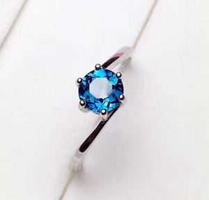 Beatrice's Contemporary .84 Carat Blue Topaz & Sterling Silver Ring