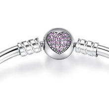 Load image into Gallery viewer, Sterling Silver and Cubic Zirconia Crystal Heart Bangle Bracelet