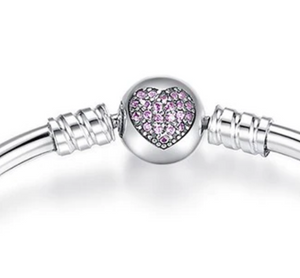 Sterling Silver and Cubic Zirconia Crystal Heart Bangle Bracelet