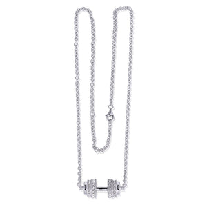 Women's Sterling Silver & Crystal Weightlifting Necklace - LIMITED SUPPLY!