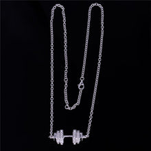 Load image into Gallery viewer, Women's Sterling Silver & Crystal Weightlifting Necklace - LIMITED SUPPLY!