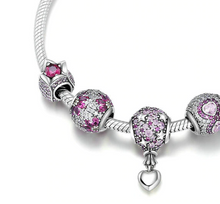 "Load image into Gallery viewer, Sterling Silver ""Crystal Romance"" Snake Chain Bracelet - Special Offer!"