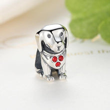Load image into Gallery viewer, Sterling Silver Labrador Charm Bead with CZ Bandana