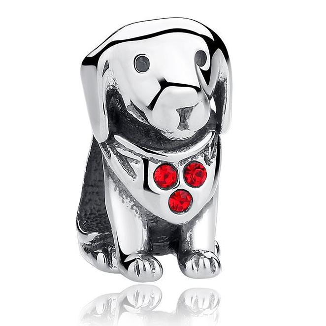 Sterling Silver Labrador Charm Bead with CZ Bandana