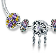 "Load image into Gallery viewer, Sterling Silver ""Dream Catcher"" & Colorful Jewel Snake Chain Bracelet - SPECIAL OFFER!!"