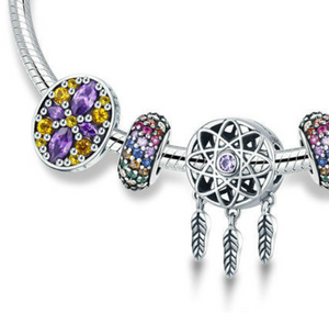 "Sterling Silver ""Dream Catcher"" & Colorful Jewel Snake Chain Bracelet - SPECIAL OFFER!!"