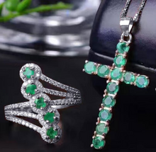 Load image into Gallery viewer, Genuine 12-Emerald & Sterling Silver Cross Pendent Necklace with Matching 5-Emerald Ring