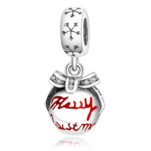 Sterling Silver Snowflake Dangling Merry Christmas Ornament Bead Charm