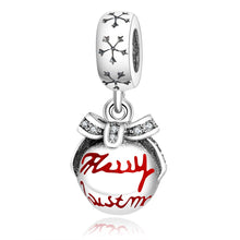 Load image into Gallery viewer, Sterling Silver Snowflake Dangling Merry Christmas Ornament Bead Charm