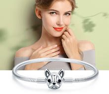 Load image into Gallery viewer, Sterling Silver French Bulldog Clasp Snake Chain Bracelet