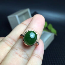 Load image into Gallery viewer, Sterling Silver 5 Carat Genuine Oval Green Jasper Ring