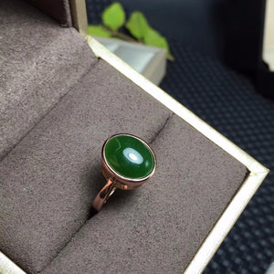 Sterling Silver 5 Carat Genuine Oval Green Jasper Ring