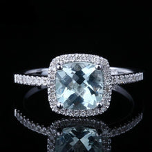 Load image into Gallery viewer, Anastasia's 1.3 Carat Cushion Cut Aquamarine & Diamond 14K White Gold Ring, Cushion Cut Birthstone, Cushion Cut Aquamarine, Aquamarine and diamond ring, Diamond birthstone ring, Aquamarine Birthstone Ring, Aquamarine, Aquamarine birthstone, March Birthstone, Emerald cut aquamarine, buy aquamarine, buy aquamarine birthstone, Aquamarine and 14K white gold, 100Sterling.com