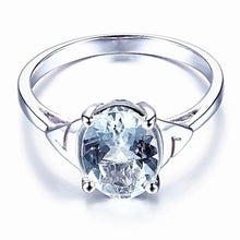 Load image into Gallery viewer, AnnaMarie's Sterling Silver 1.2 Carat Oval Cut Aquamarine Gemstone Ring, Aquamarine Ring, Aquamarine Birthstone, Aquamarine Gemstone, Aquamarine, March Birthstone, Sterling Silver and Aquamarine ring, Aquamarine Birthday, 100Sterling.com, Gemstone Ring